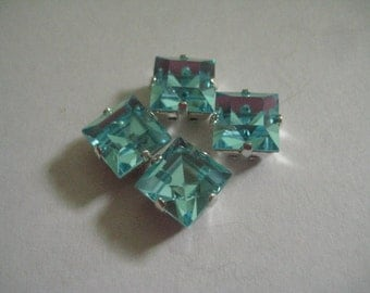 Lot of 4 8mm Aqua Bohemica Square Shaped Czech Preciosa Rhinestones in Silvertone Sew on Settings