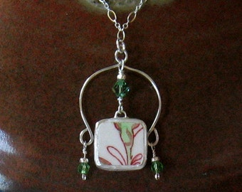 "Vintage Broken China, Ceramic Shard Necklace, Sterling Silver & Crystal Beads, ""Rose Chintz"" Pattern"