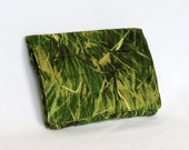 Mini Wallet with Credit Card slots and zipper Coin pocket - Green Grass fabric