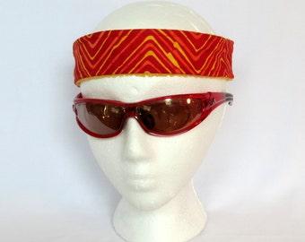 Adjustable Sweatband / Headband - Large - Red Orange Yellow ZigZag