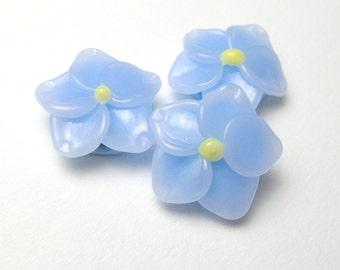 Handmade Glass Beads, Forget Me Not BLUE FLOWERS, jewelry supplies sra, artisan lampwork, sra bead, lampwork beads