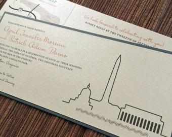 WASHINGTON DC City Skyline Wedding / Digital Design Download / Modern Graphic Illustration