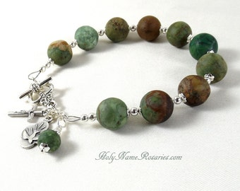 Chunky Holy Spirit Rosary Bracelet Chaplet Single Decade Miraculous Medal Mother of Sorrows St Therese Matte Opal Turquoise Green Tan