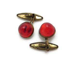 Vintage Cufflinks - Ruby Red Lucite Cabochons