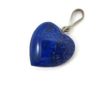 Lapis Heart Pendant - Blue Stone Carved Puffy Heart Charm