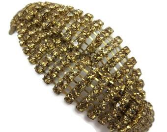 Rhinestone Bracelet - Topaz Color, Criss Cross, Costume Jewelry