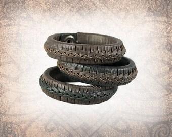 Braided Leather Cuff, Leather Cuff, Leather Wristband, Leather Bracelet, Brown Leather Cuff, Leather Band, Braided Bracelet - Chocolate