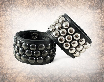 Studded Leather Cuff, Leather Cuff, Leather Wristband, Silver Leather Cuff - Dome Studded - 3 Row Steel Custom to You (1 cuff only)