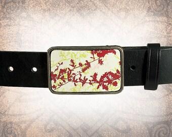 Belt Buckle - Spring Leaves - Leather Insert Belt Buckle