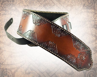 Bass Leather Guitar Strap - Celtic Suns