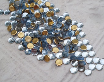 Preciosa 5mm Light Sapphire Blue Czech Gold Foiled Flat Back Round Glass Cabs or Stones (24 pieces)