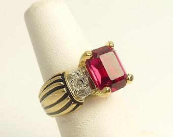 Vintage Red Rhinestone Cocktail Ring