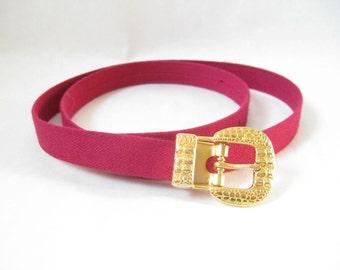 Vintage 80's Pink and Gold Skinny  Belt