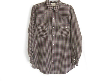 Vintage Dee Cee Black Checkered Western Snap Shirt