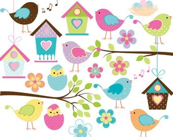 Bird clipart - little birds clip art baby birds whimsical cute birdies birdhouse eggs sweet birdy commercial use scrapbooking digital