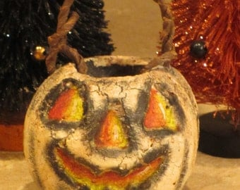 "Paper mache 2 1/4"" Halloween White Pumpkin"