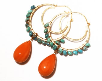 Held for Sarah Real Coral & Turquoise Earrings Gold Hoop Earrings Orange Earrings Orange Jewelry Turquoise Jewelry Earrings GEM-E-122-g