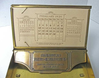 Vintage 1929 Brass Advertising Office Desk Top Card, Flip Top Box, American Photo Engraving Co., Chicago Promo Box