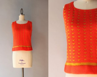 1960s Knit Tank / Vintage 60s Orange and Mustard Wool Shell / 60s Knit Top