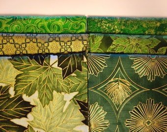 Green Gold Metallic Fabric Fat Quarter 6 pack