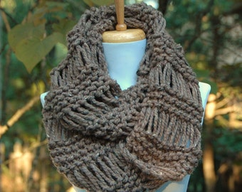 Infinity Scarf, Chunky Scarf, Circle Scarf, Barley Brown Knit Scarf, Hand Knitted Infinity Scarf, Women Scarves, Knitted Winter Wool Scarf