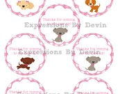 DIY Instant Download Printable 3 inch Girly Puppy themed Thank You Favor Tags