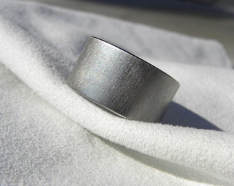 Titanium Ring, Frosted Finish, Wide Widths Available, Flat Profile Band