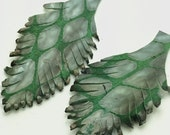 Two Green and Gray/Blue Leather Feathers 019