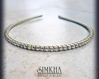 Aurora Borealis Rhinestone Headband Gold Wedding Headpiece Jeweled AB Crystal Diadem