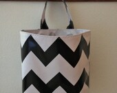 Beth's Black and White Chevron  Oilcloth Car Trash Bag Hanging Receptacle