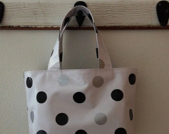 Beth's Small Black and Silver Oilcloth Market Tote Bag