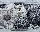Handmade Long Wallet  BiFold Clutch -Vegan Wallet - Midnight floral garden