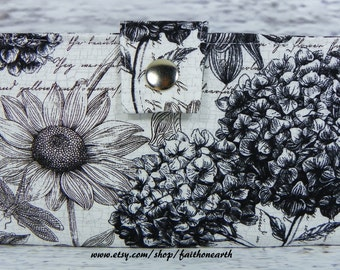 Handmade Long Wallet  BiFold Clutch -Vegan Wallet - Midnight floral garden or half size unisex wallet