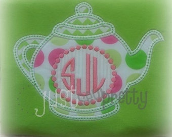 Monogram Teapot Tea Party Embroidery Applique Design