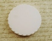 Three Inch Paper Die Cut  Scalloped Circles in White Quantity 25