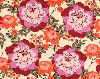 1 FQ Sandi Henderson for Michael Miller - Meadowsweet - Splashy Rose in Geranium - cotton quilting fabric, OOP, Hard To Find