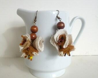 Brown and beige dangling bohemian earrings, statement