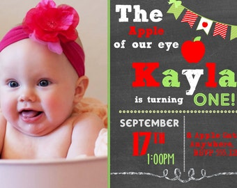 Apple Invitation - Apple of my Eye Theme Party Personalized Birthday Invitation or Evite - Fall Invitation, Apple Invitation