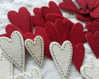 Felt heart stickers 72 pcs crafts supplies for rustic wedding red and white stitched fabric hearts embellishments kids crafts