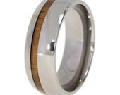 Koa Wood Ring Pinstripe Titanium Wedding band or Engagement ring - Waterproof - Ready to ship, Wedding Band