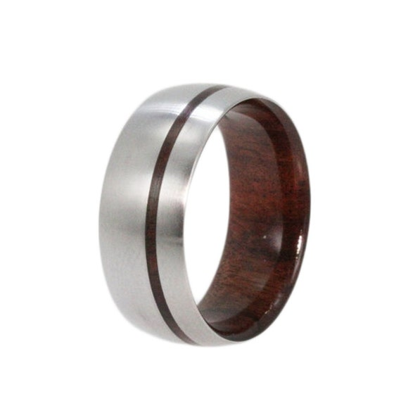 Titanium Ring, Bolivian Rosewood Wedding Band with Wood Pinstripe and Wood Sleeve, Ring Armor Included