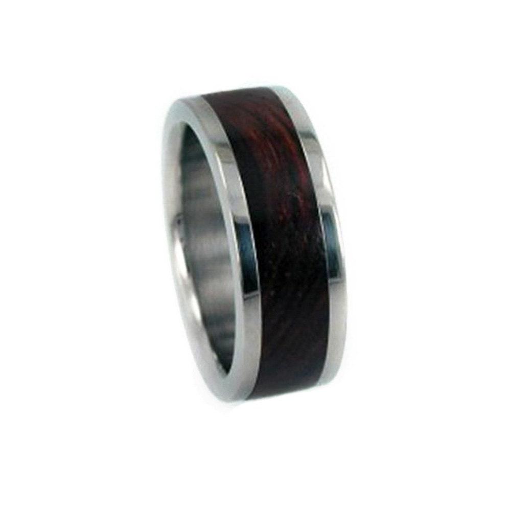 titanium wedding band with cocobolo wood inlay by