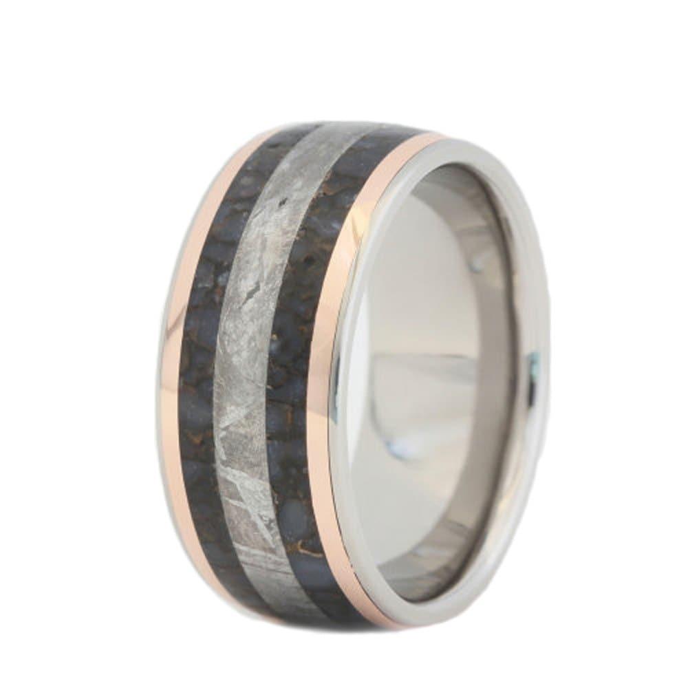 dinosaur bone ring gibeon meteorite ring two 14k by
