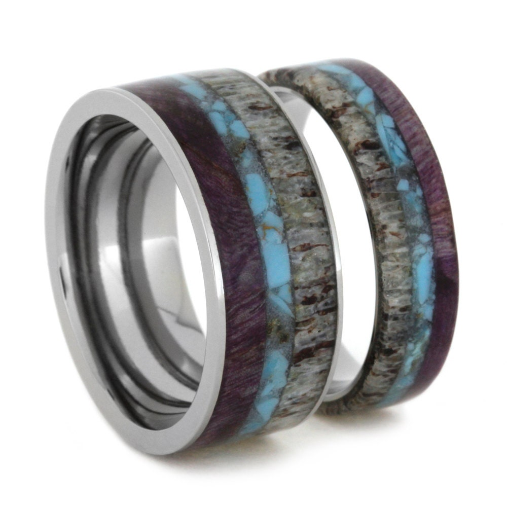 Unique ring set titanium wedding bands set with by for Wedding ring unique