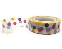 Polka Dot Washi Tape - 15mm x 10 metres - Confetti Washi Tape Roll - Party Washi Tape - Pretty Masking Tape - Washi Tape Australia