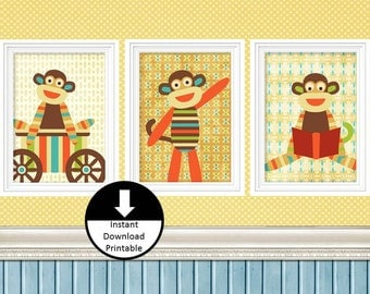 Instant Download Printable Nursery Children Wall Art Sock Monkey Set of 3