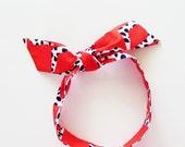 Mod Herringbone Head Scarf / Hair Accessory / Neck Scarf / Handbag Adornment / Rockabilly Scarf / Gift Under 15 / Red White Black Scarf
