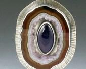 Amethyst and Druzy Geode Slice Necklace, purple amethyst, statement piece, large amethyst pendant, amethyst necklace, purple geode slice