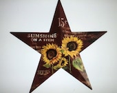 "Burgundy Star Sunflower Star Spring Summer wall decor Fall Home decor Front door decor Star wall hanging Sunflower seed packet 16"" star"