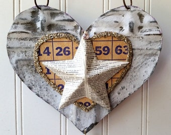 Tin heart wall hanging ornament sign mixed media folk art vintage metal French text star home wedding decor Valentine 10th Anniversary gift
